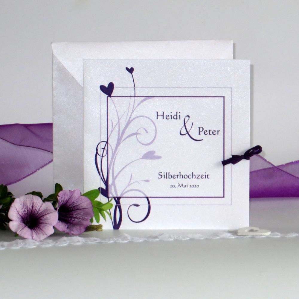 Herzzauber lila Silberhochzeit
