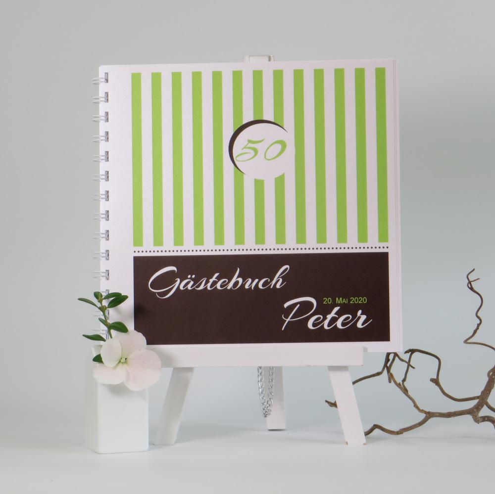 Geburtstagsgästebuch mit süßen Streifen in grün und tollen Elementen in braun