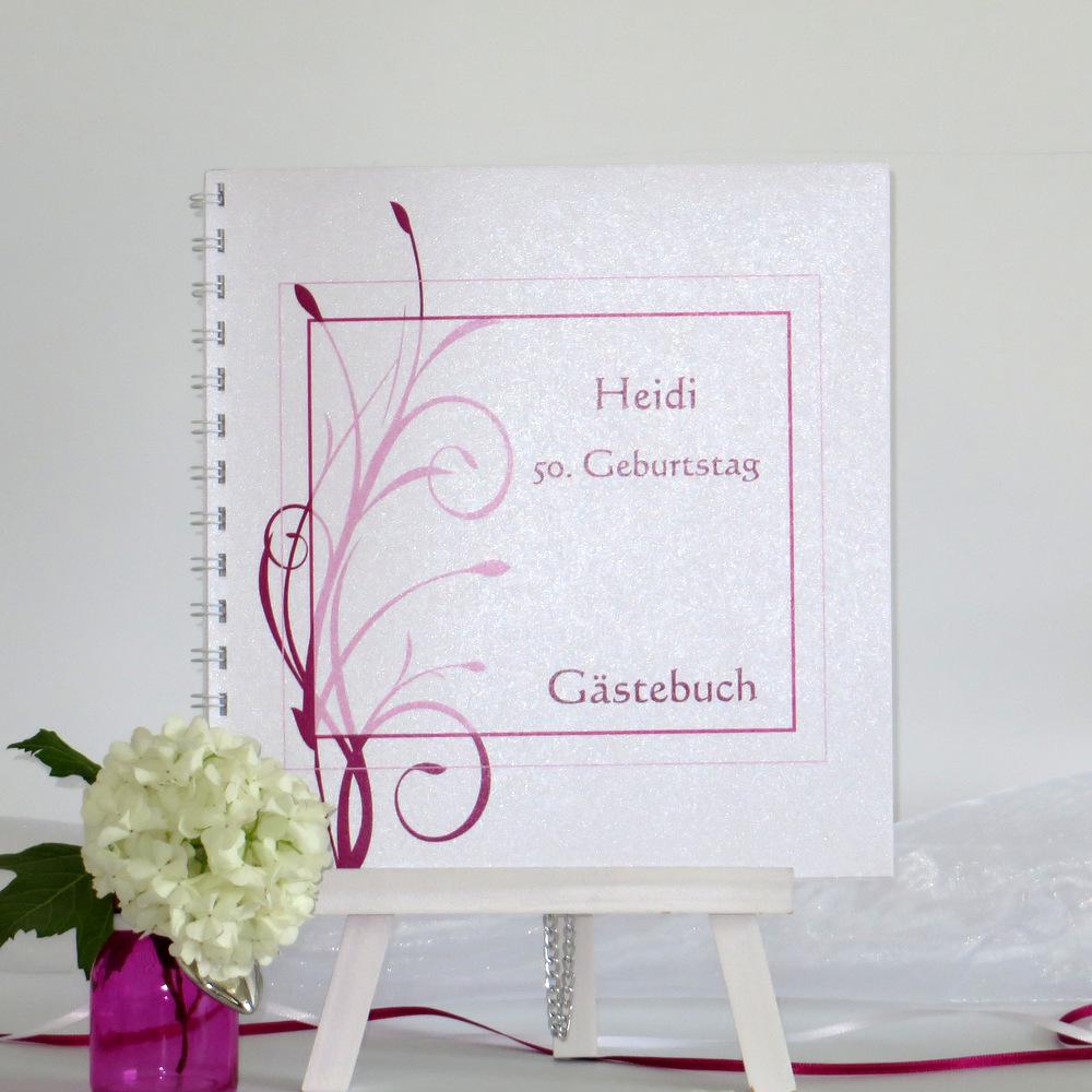 Geburtstagsgästebuch mit edlen Ranken in pink