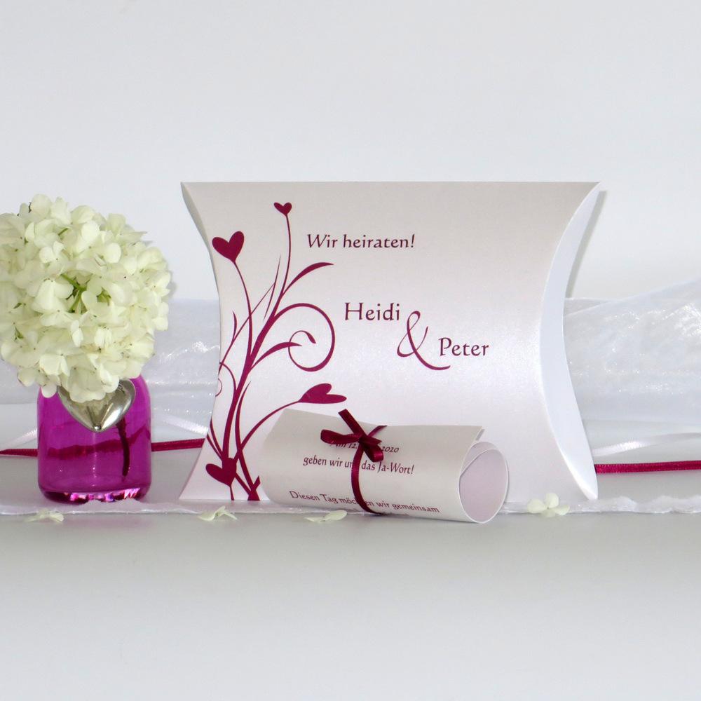 Innovative Hochzeitseinladung in pink und sensationellem Rankendesign