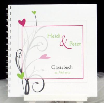 Hochzeitsgästebuch in pink und grün.