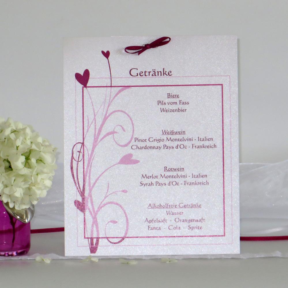 Getränkekarte als Aufsteller für eine festliche Hochzeitstafel