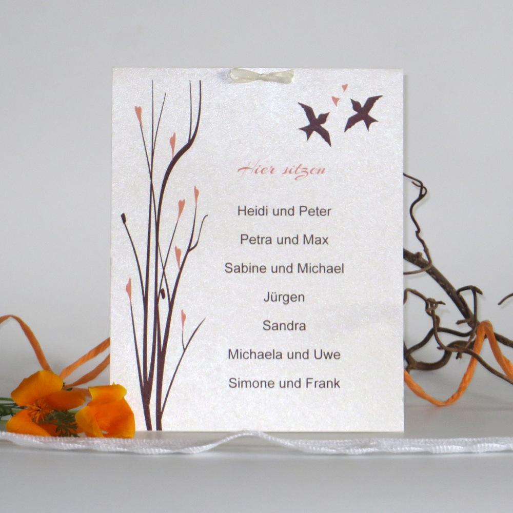 Gruppentischkarte in apricot und braun