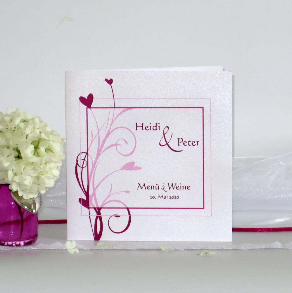 Elegante Menükarte als Klappkarte in angesagtem Fuchsia-Farbton