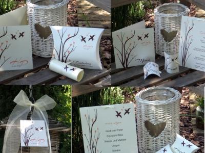 Originelles Design von Vögeln und Ästen in apricot und braun stehen bei dieser Hochzeitkollektion an erster Stelle