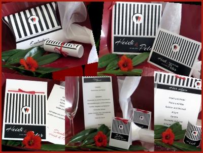 Schwarz-weiße Hochzeitskarten und Hochzeitsdekoration, die auch perfekt zu einer Rockabilly-Hochzeit passen.