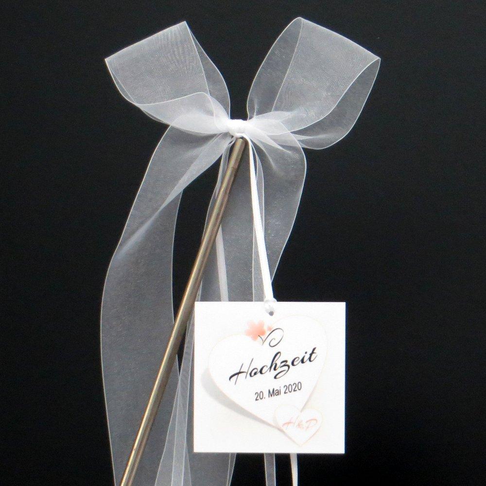 Autoschleife Herzkarte apricot