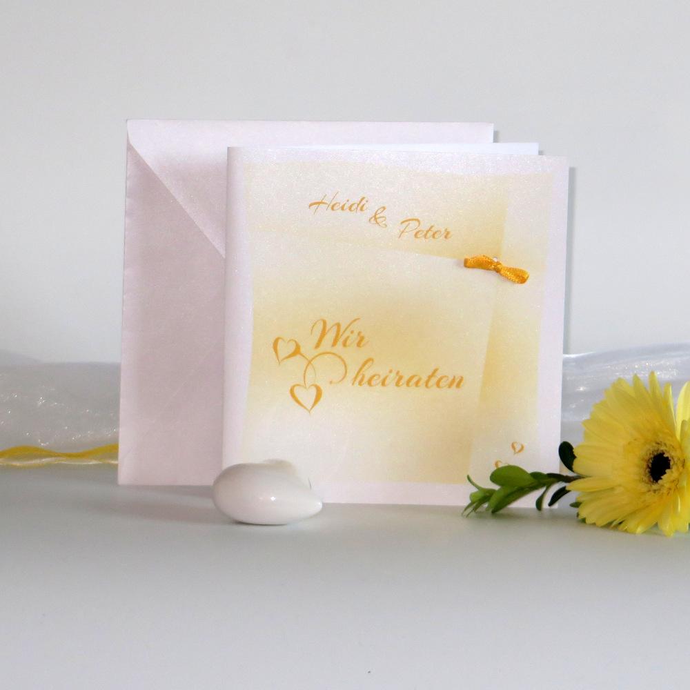 """Hochzeitseinladung """"Lieblingsfarbe"""" gelb"""