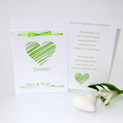 Grün-weiße Dankeskarte für Hochzeitsfotos.