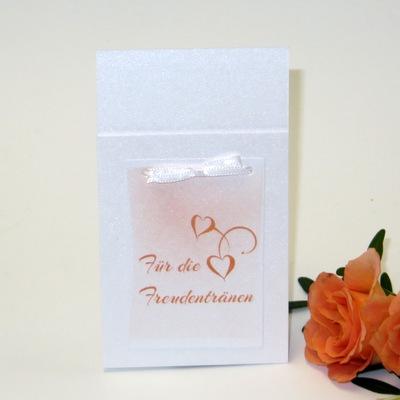 """Taschentuchtasche """"Für Freudentränen"""" bei der Hochzeit in orange."""