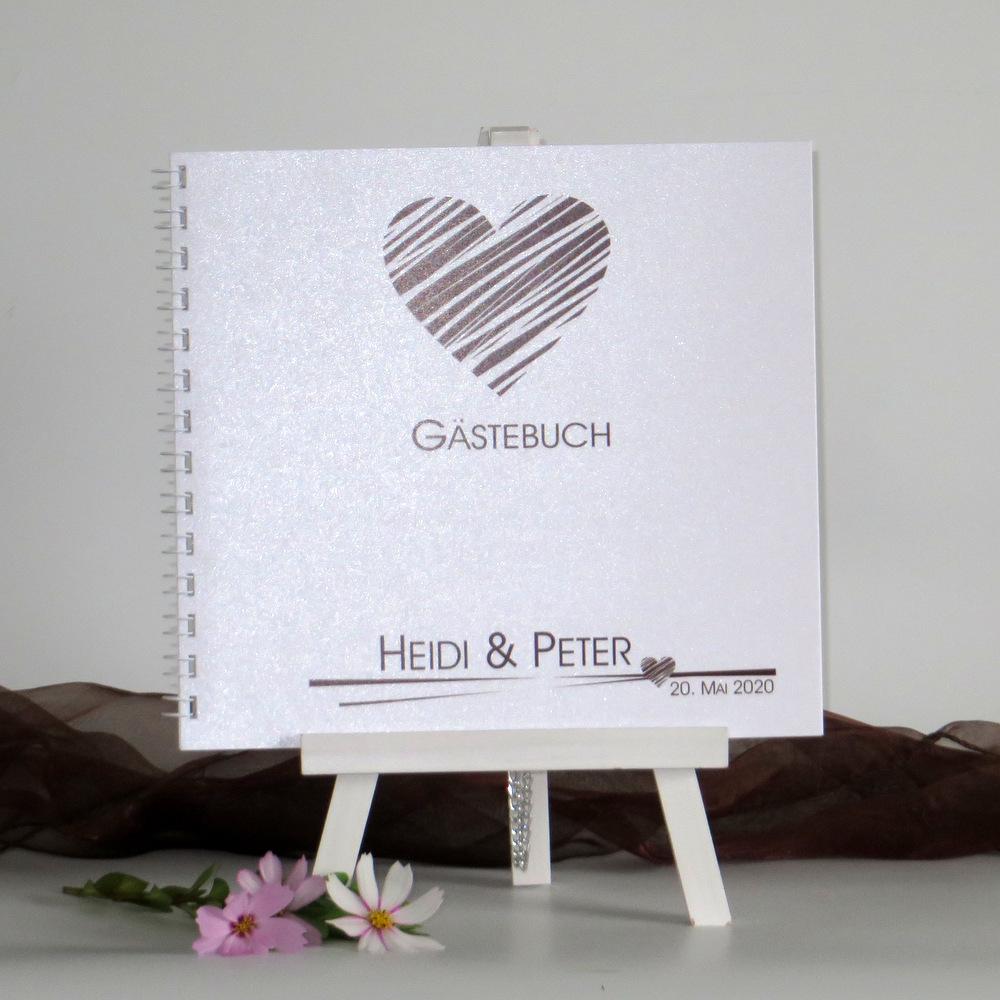 """Gästebuch """"Streifenherz"""" braun"""