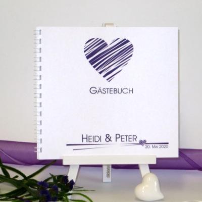 """Gästebuch """"Streifenherz"""" lila"""
