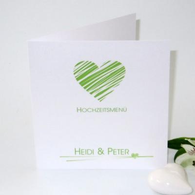 Hochzeitsmenükarte mit einem schlichten grün-weißen Motivdruck.