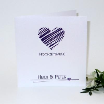 In edler Optik gestaltete Menükarte für Ihre Traumhochzeit in lila