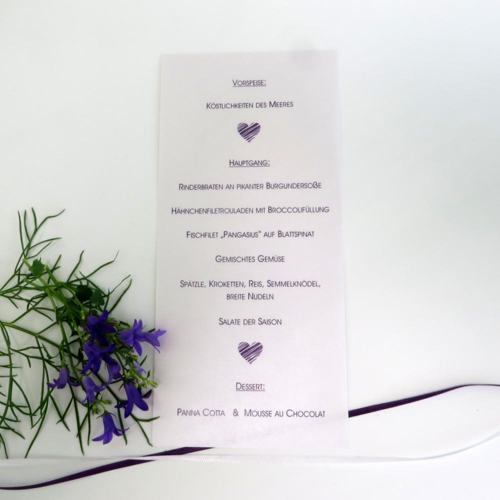 Raffinierte Menükarte als Schriftrolle für Ihre besondere Tischdekoration zur Hochzeit