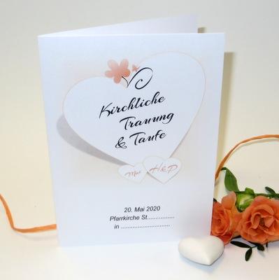 Trauf- bzw. Hochzeitskarten mit einem Motiv in apricot und weiß.