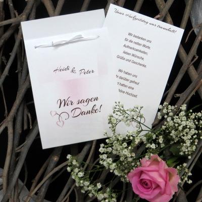 Dankeskarte nach der Hochzeit in rosa und braun.