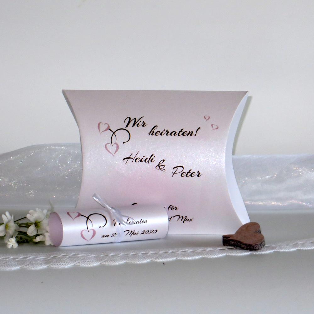 Extravagante Hochzeitseinladung mit einem brillanten Motiv in rosa und braun