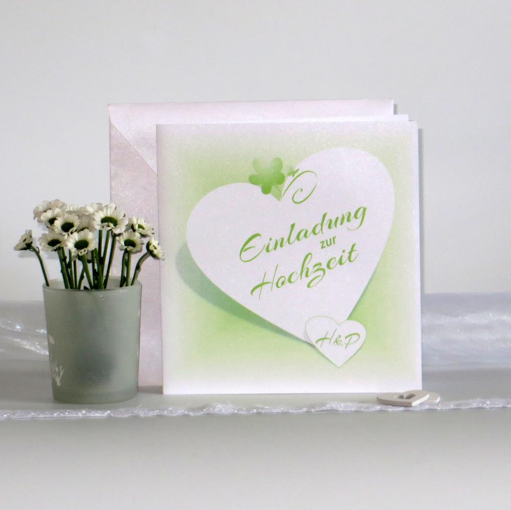 """Hochzeitseinladung """"Herzkarte"""" grün"""