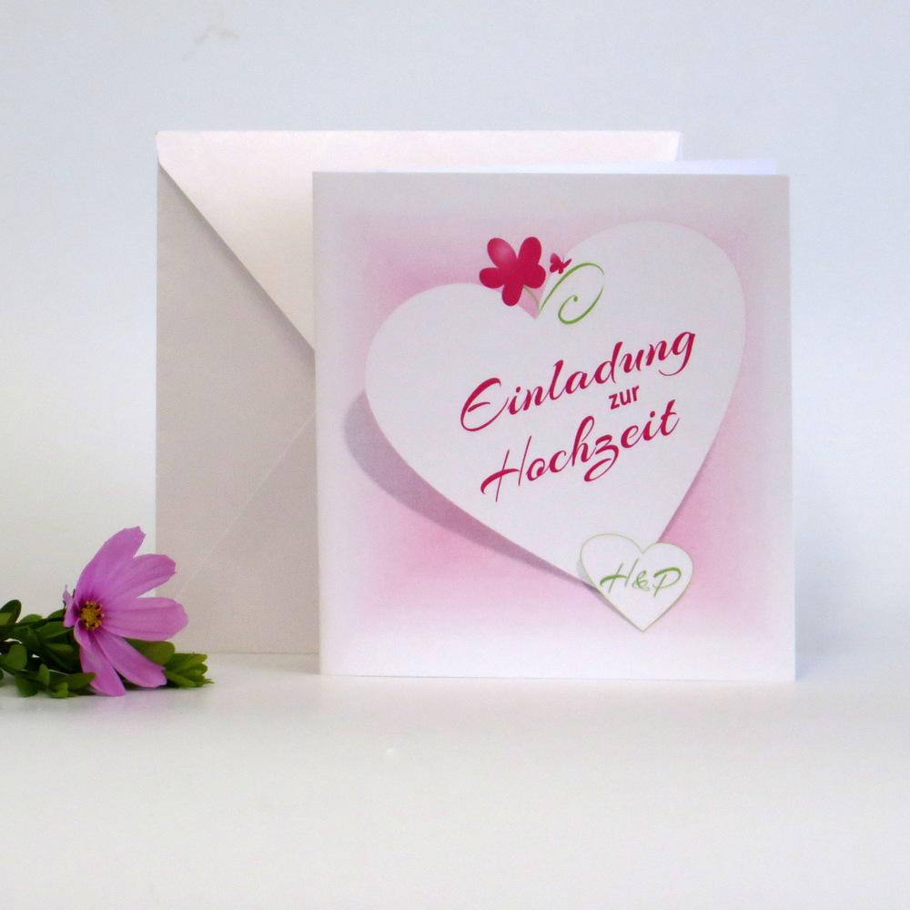 Hochzeitseinladung in pink mit Elementen in zartem grün