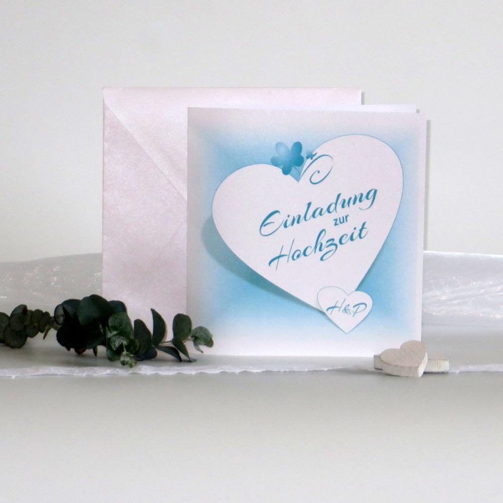 Hochzeitseinladung in leuchtendem türkis