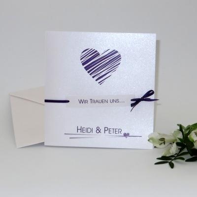 Edle Einladungskarte zur Hochzeit, die mit Ihrer Schlichtheit und Moderne besticht