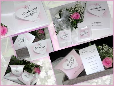 Rosa Hochzeitspapeterie von der Einladung bis zur Danksagung.