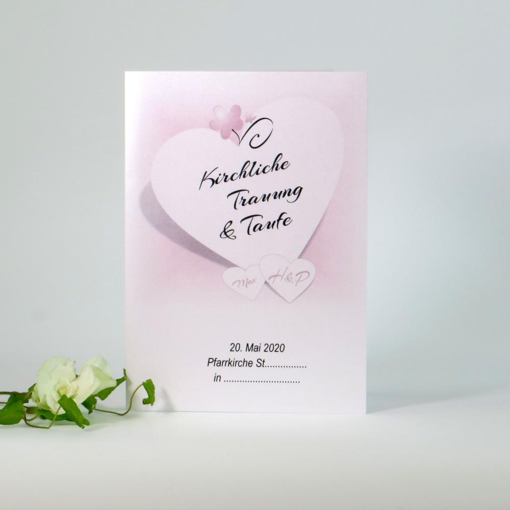Mit einem rosa Farbverlauf gestaltetes aktuelles Liedheft für die Trauung und Taufe
