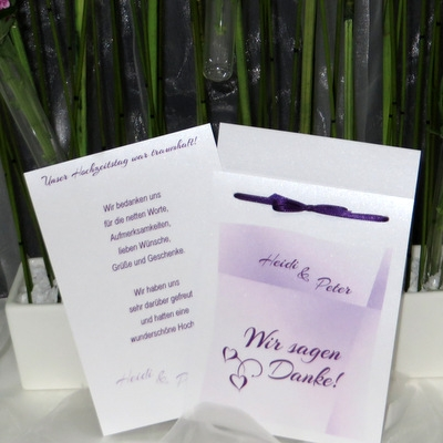 Wundervolle Dankeskarte als Fototasche mit edlem Farbverlauf in lila