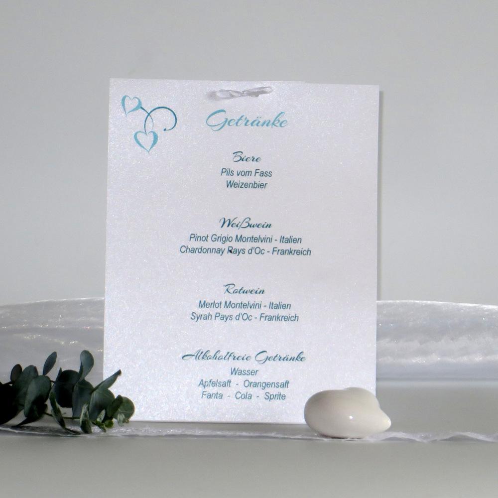 Hübsche Getränkekarte in türkis, die Ihre Hochzeitsdeko vervollständigt