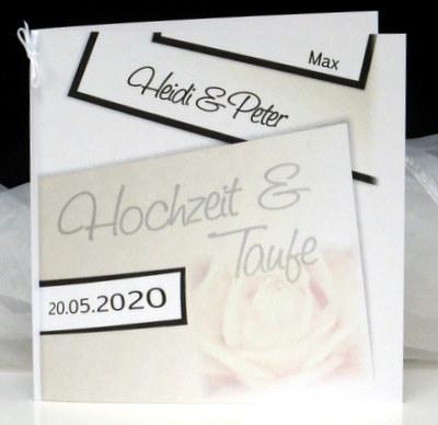 Edle Einladungskarte für eine Hochzeit und Taufe mit einer Rose.