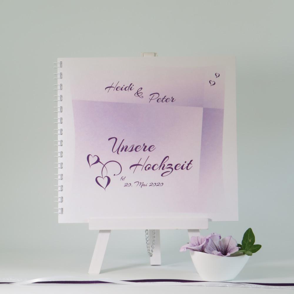 Hochzeitsgästebuch in edlem lila - für die schönen Erinnerungen an den Hochzeitstag