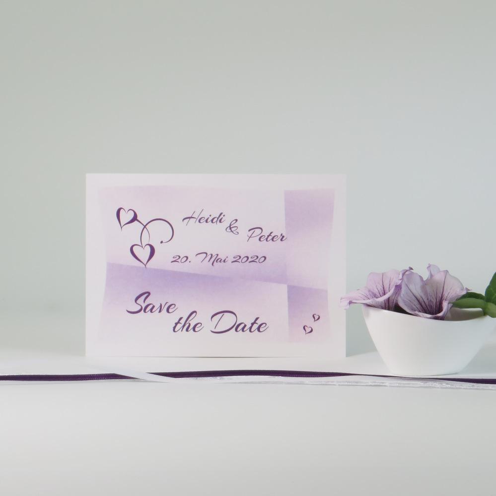 Sensationelle Save-the-Date Karte mit tollem Farbverlauf in lila