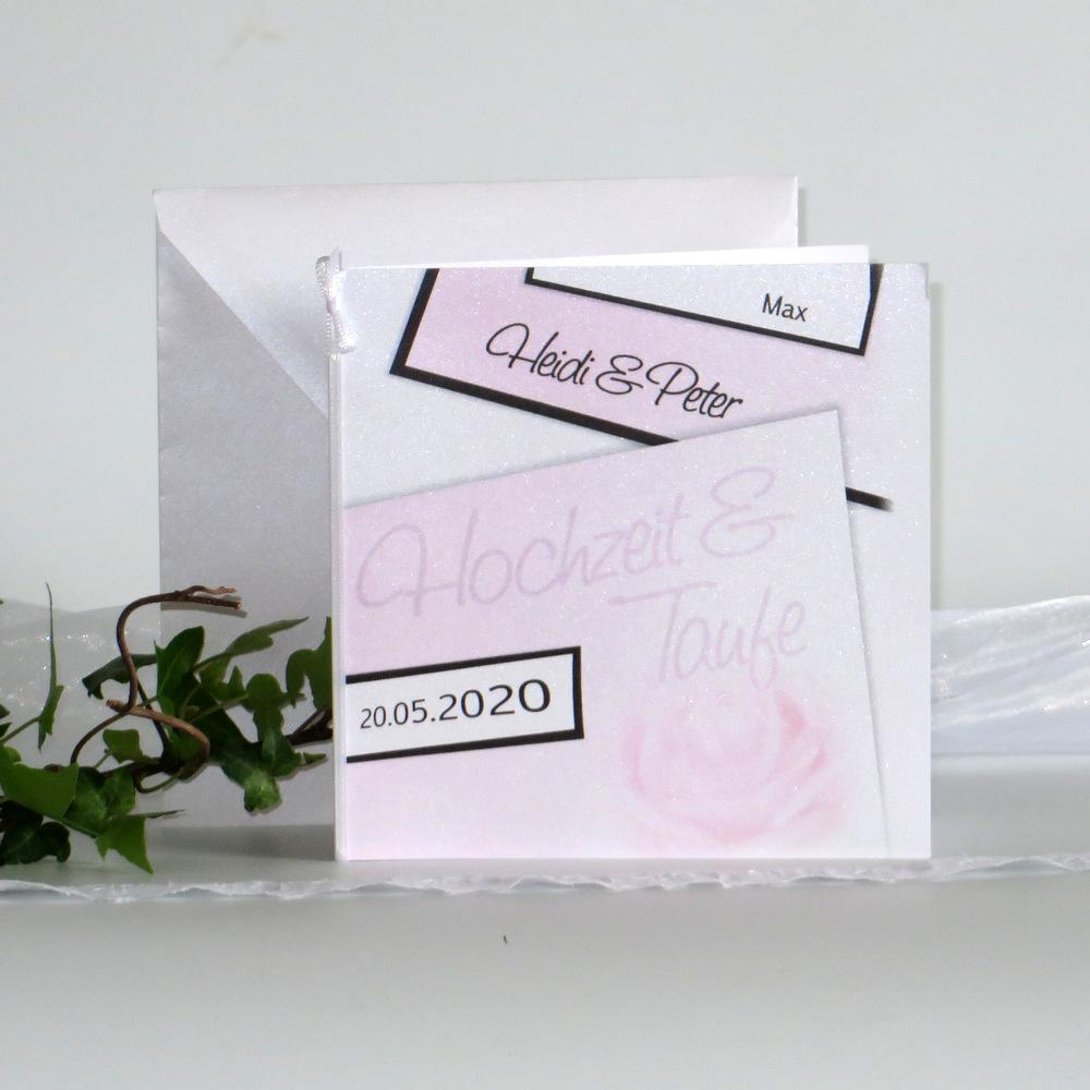 Einladungskarte für eine Hochzeit und Taufe mit einer rosa Rose.