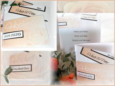 Moderne Papeterie und Karten für eine Hochzeit und Taufe in apricot.