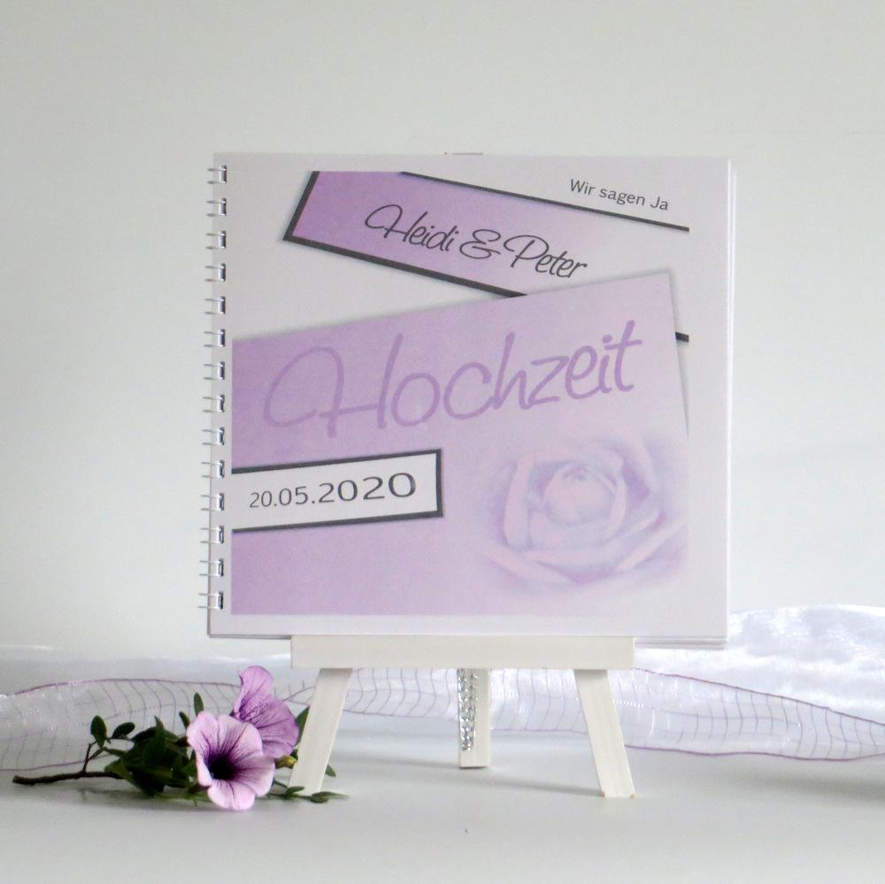 "Gästebuch ""Rose"" flieder"