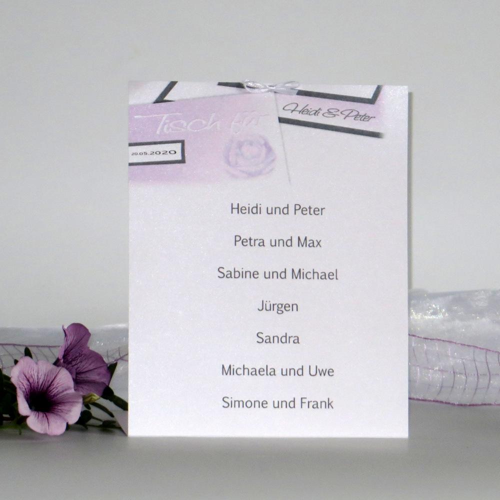 """Gruppentischkarte """"Rose"""" flieder"""