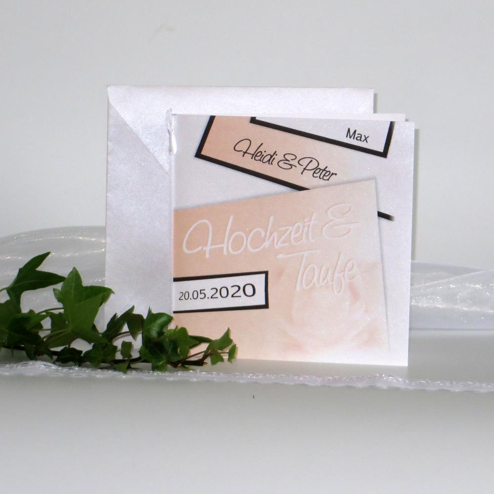 Einladungskarte zur Traufe mit einer Farbgestaltung in apricot und braun.