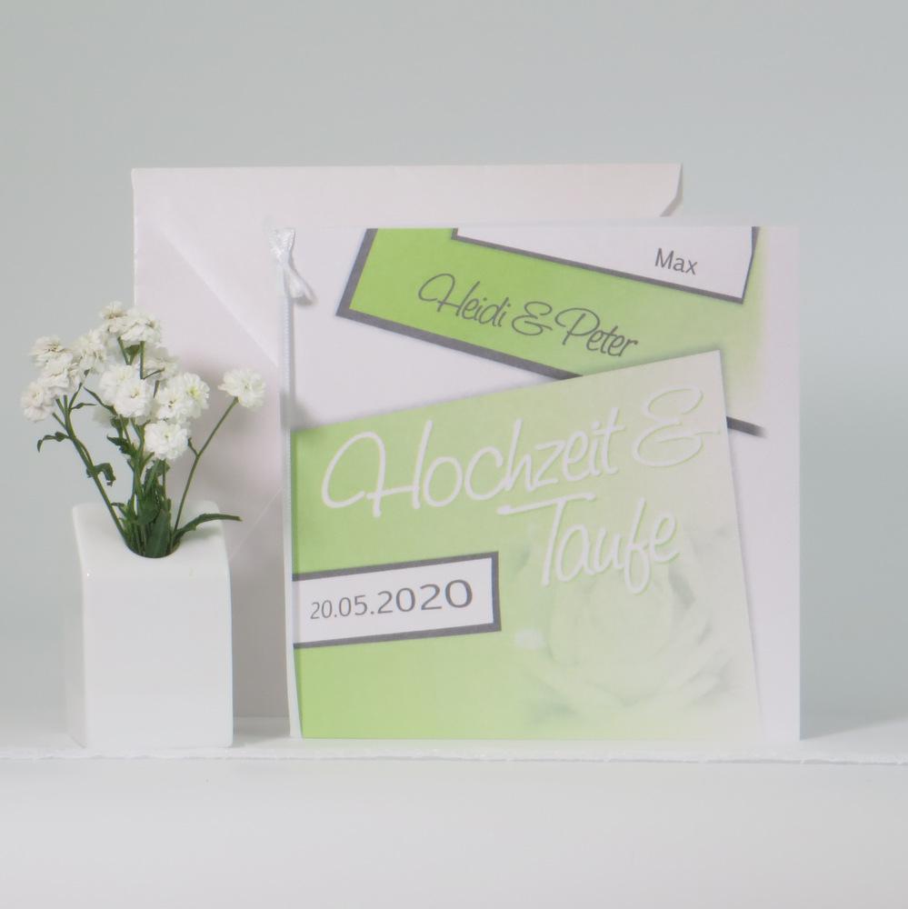 Einladung zur Hochzeit und Taufe, die mit grünen und grauen Details und einer herrlichen Rose gestaltet ist.