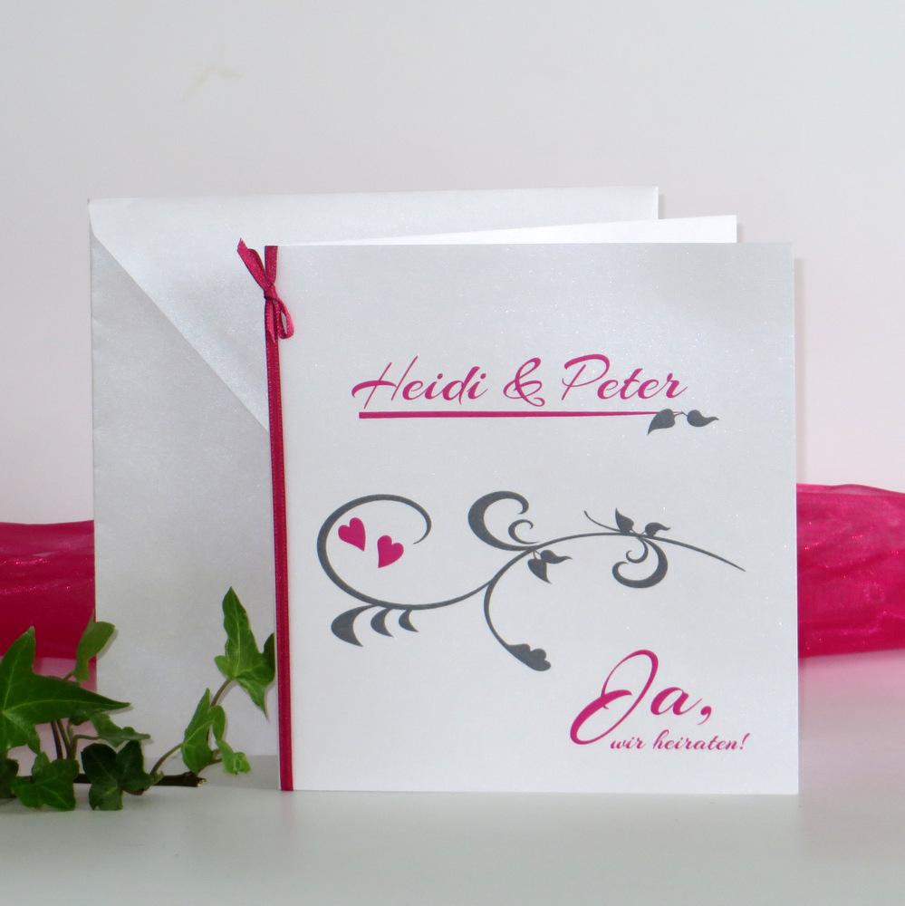 Hochzeitseinladung in frischem pink und trendigem grau