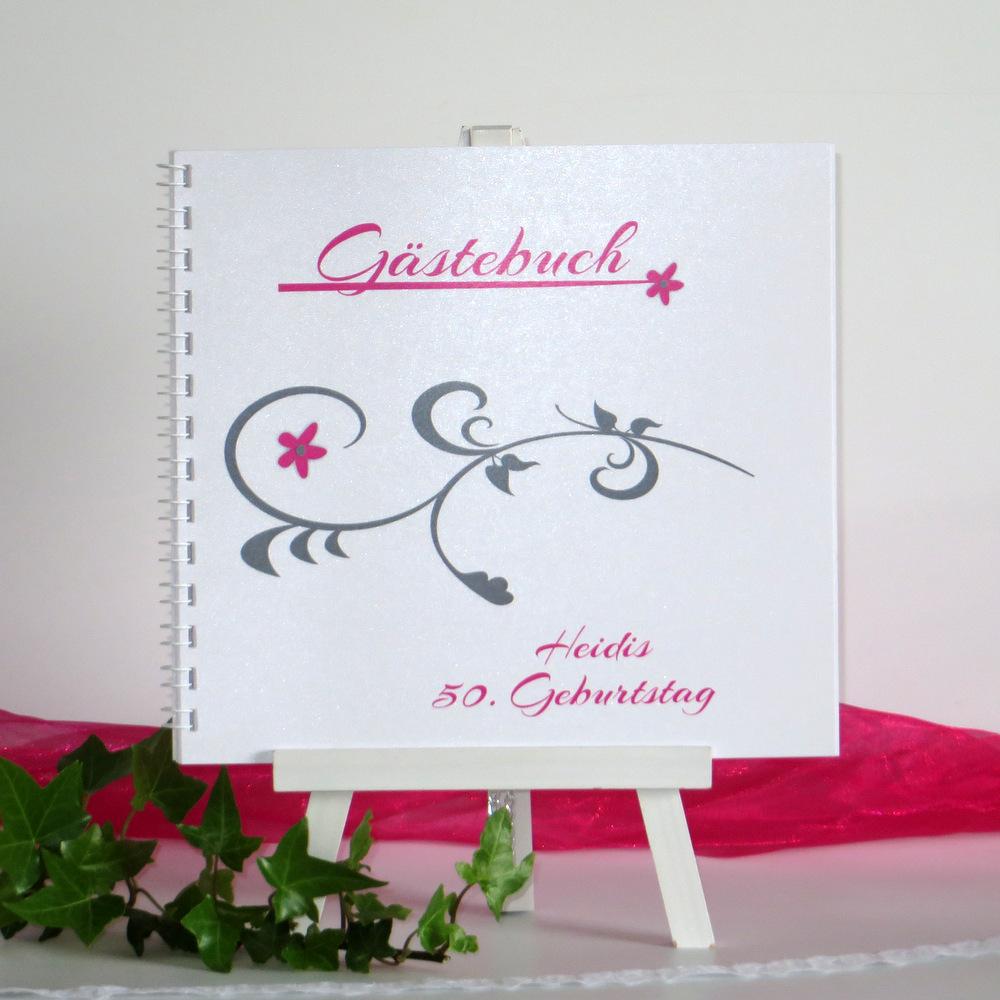 Geburtstagsgästebuch mit tollem Rankdesign in grau und süßen Blümchen in pink