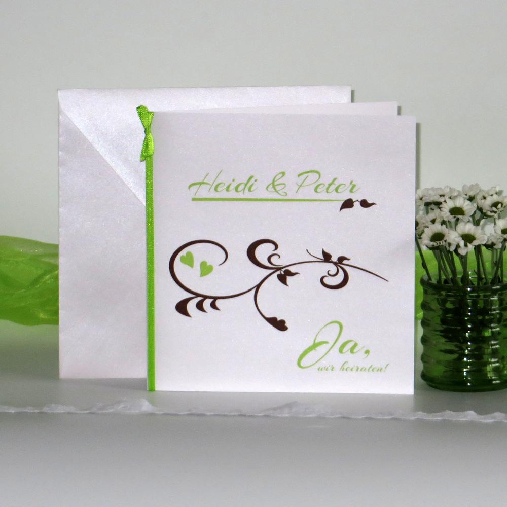 """Hochzeitseinladung """"Event"""" grün & braun"""