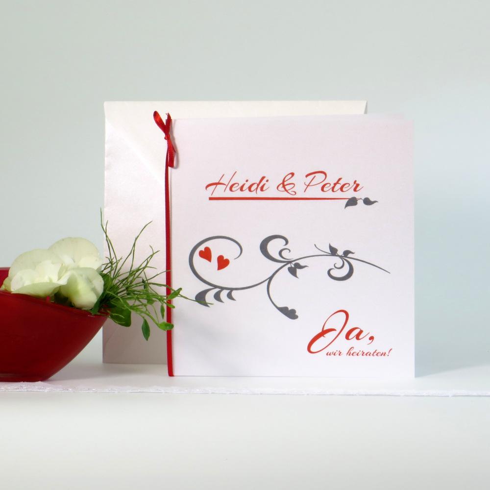 Elegante Hochzeitseinladung in tollem rot und modernem silbergrau