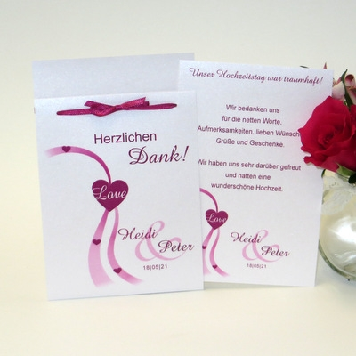 Danksagung mit Umschlag und einem zauberhaften Motiv in pink.