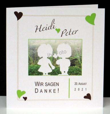 Hochzeitsdanksagung mit Foto und Design in grün.