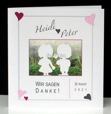 Besondere Dankeskarte nach einer Hochzeit in rosa.