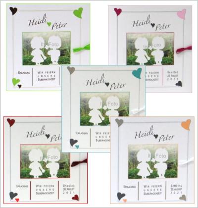Einladungskarten zur Silberhochzeit mit Foto in vielen Farben.