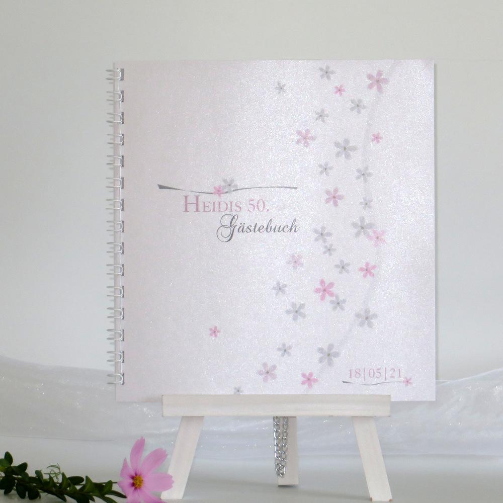"""Geburtstagsgästebuch """"Blumenmeer"""" rosa-0"""