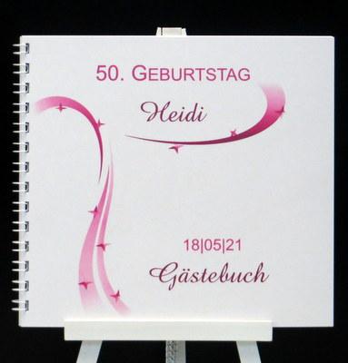 In pink und weiß mit modernen Grafiken gestaltetes Gästebuch zum Geburtstag.