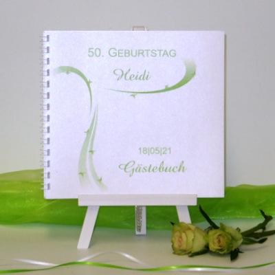 """Gästebuch zum Geburtstag """"Sternregen"""" grün"""